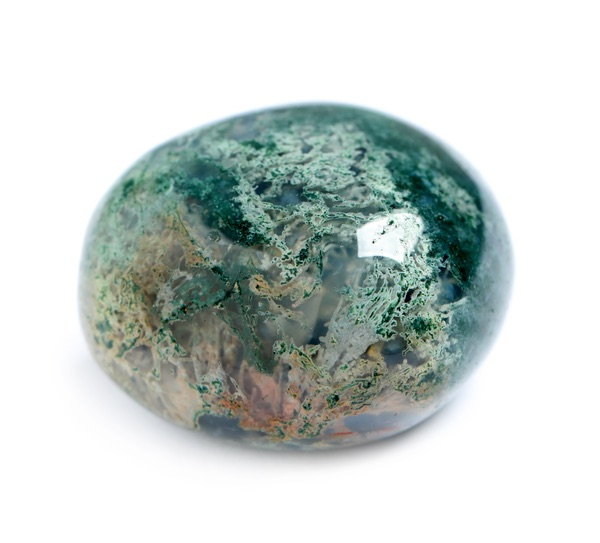 Evenly polished piece of Moss Agate