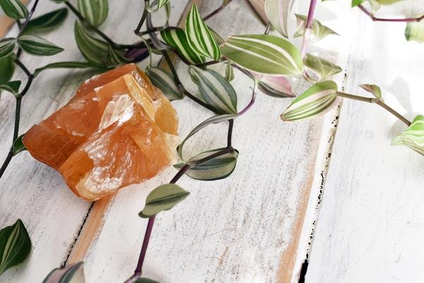 A Honey Calcite crystal set up for meditation
