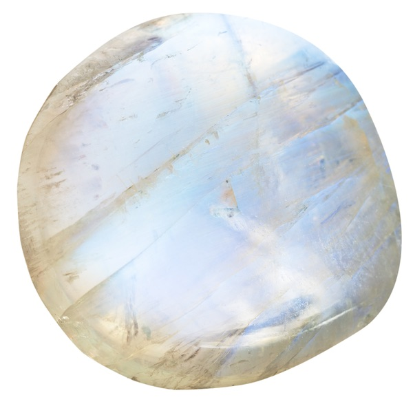 A round polished piece of moonstone