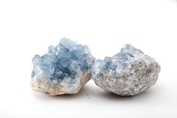 One Celestite crystal that has been split in half