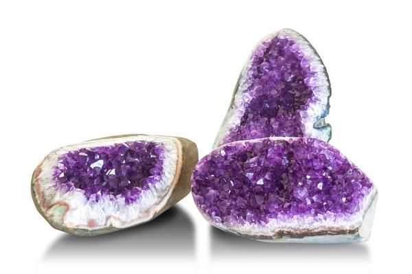 Three Amethyst crystals