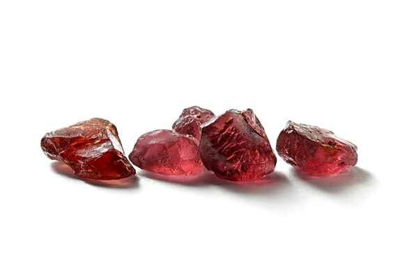 Five Garnet stones next to each other