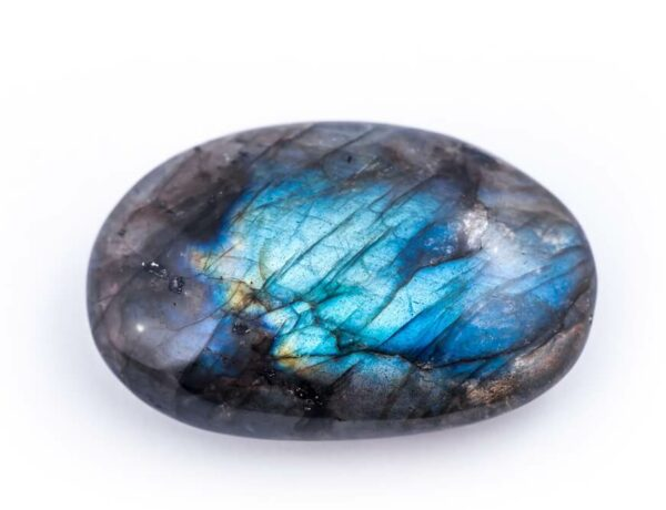 A polished lucky Labradorite stone after being polished