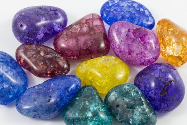 A pile of Crackle Quartz healing crystals