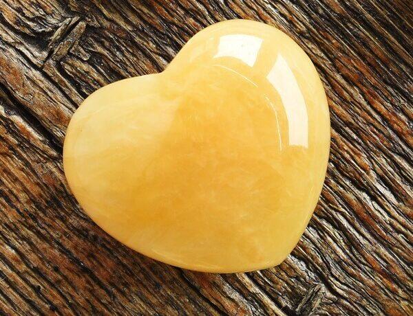A heart shaped piece of Golden Healer Quartz