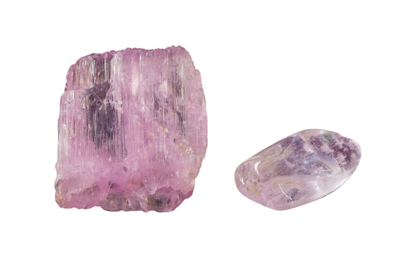 Two Kunzite stones next to each other
