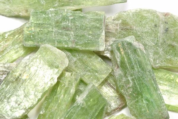 A pile of Green Kyanite stones